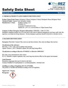 ProSpartic-FlexSpartic Resins Safety Data Sheet