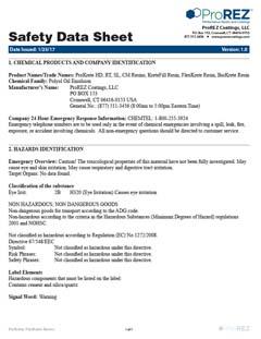 ProKrete Resins Safety Data Sheet