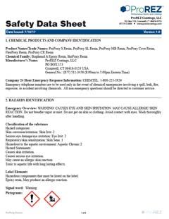 ProPoxy Resins Safety Data Sheet